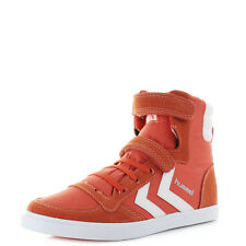 Boys Kids Hummel Slimmer Stadil Junior High Top Tomato Red Trainers Shu Size