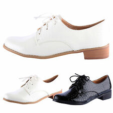 WOMENS SHOES LADIES FLATS OXFORD BROGUE LACE UP PUMPS SMART WORK OFFICE SIZE NEW