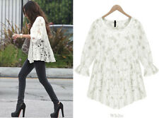New Women Lady Lace Hollow Round Neck Loose Plus Size shirt Tops Blouse