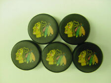 "NHL Chicago Blackhawks Mini 1.5"" Hockey Pucks Five (5) Pack made by Sher-Wood"