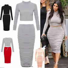 Womens Ladies Celebs Ribbed Wavy Gathered Midi Pencil Skirt 2 Piece Set Crop Top
