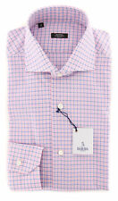 New $325 Barba Napoli Pink Plaid Shirt - Extra Slim - (320904U13T)