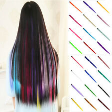 2pcs Women Multi Color Long Straight Synthetic Clip in on Hair Extensions Piece