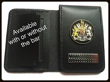 • Leather Police Style Warrant Card Holder With Generic Crest Badge & Bar •
