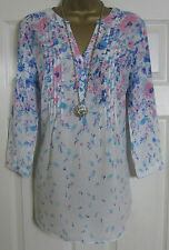 NEW EX M&CO TOP TUNIC BLOUSE KAFTAN FLORAL PRINT SUMMER HOLIDAY WHITE PINK 8-20