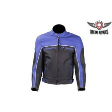 Mens Blue Racer Jacket With Light Reflective Piping Top Grade Genuine Leather
