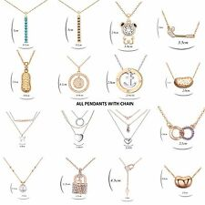 18K Gold Plated Necklace Pendants with Chain Fashion Women Jewellery CZ-Cubic