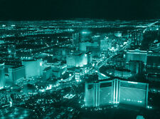 Las Vegas Strip USA Canvas Pictures Teal Blue Wall Artwork Prints All Sizes