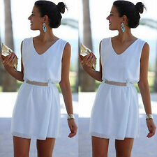 Women Summer White Chiffon Casual Sleeveless Evening Party Cocktail  Mini Dress