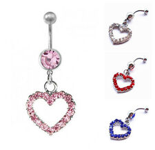 Heart Crystal Navel Belly Button Bar Ring Silver Plated Body Piercing Jewelry