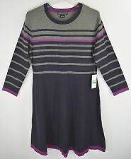 Jessica Howard Colorblock Striped Sweater Dress Womens Navy Gray Multi NEW 5599