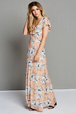 Fashion Union Ladies Pink Floral Print Maxi Dress with Strappy Back