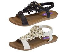 Womens ladies Flat Diamante Toe Post Ring Sandals Flip Flops summer Shoes Size