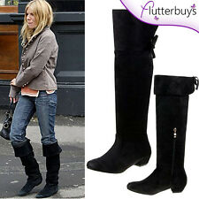 Womens black knee high boots, Faux Soft Suede fur lined Flat Heel Ladies Sizes