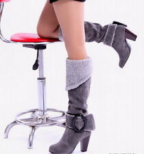 Vogue Winter Hot Women Sexy Buckle Faux Suede High Heel Over Knee Boots Shoes