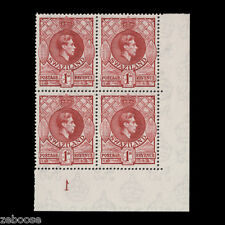 Swaziland 1943 (MNH) 1d Scarlet, perf 13½ x 14, plate 1 block x 4. SG29a