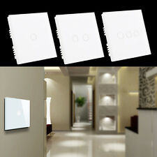 New White 90V250V Crystal Glass Panel Touch Light 1/2/3 Gang Wall Switch SL