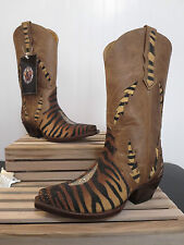Women's Star Boots Stingray Triad Tiger Striped Inlay Cowboy Boot W9112