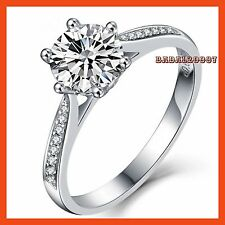 18k White Gold Plated Swarovski Crystal Silver Wedding Engagement Ring R432