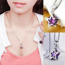 Charms Silver Plated Purple Crystal Star Pendant For Necklace Chain Link Jewelry