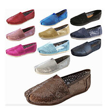 New Women Men's Glitter Slip-on Casual Flats Solid Canvas Leisure Loafer Shoes