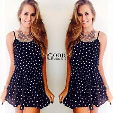 Sexy Women High Waist Spaghetti Strap Sleeveless Cute Polka Dot Mini Dress TXGT