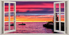 Lighthouse Sunset Sea Boat Sky 3D Effect Window Canvas Picture Wall Art Prints