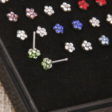 24 Surgical Steel Body Piercing Jewelry Crystal Flower Nose Stud Straight Ring
