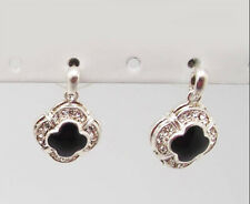ICON .75 GOLD or SILVER CLEAR CRYSTAL BLACK ENAMEL DROP BUTTERFLY EARRINGS NEW