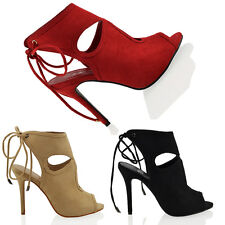 WOMENS LACE UP STILETTO HEEL LADIES PEEP TOE CUT OUT PARTY EVENING SANDALS SIZE