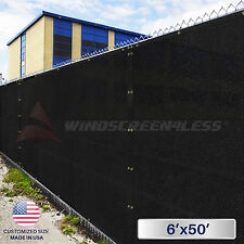 6'(H) x 50' (L) Fence Privacy Windscreen Cover Mesh Yard Outdoor Green/Black Zip