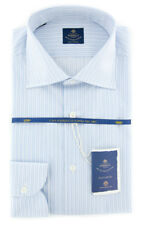 New $600 Luigi Borrelli Light Blue Striped Shirt - (EV0668570GIANNI)