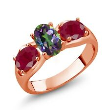 2.00 Ct Oval Green Mystic Topaz Red Ruby 18K Rose Gold Ring
