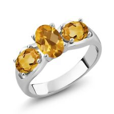 1.50 Ct Oval Checkerboard Yellow Citrine 18K White Gold Ring