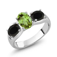 1.58 Ct Oval Green Peridot Black Onyx 925 Sterling Silver Ring