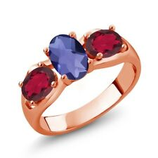 1.65 Ct Oval Checkerboard Blue Iolite Red Mystic Topaz 14K Rose Gold Ring