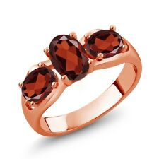1.90 Ct Oval Red Garnet 18K Rose Gold Plated Silver Ring