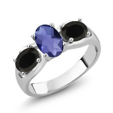 1.43 Ct Oval Checkerboard Blue Iolite Black Onyx 925 Sterling Silver Ring