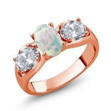 1.63 Ct Oval White Simulated Opal White Topaz 18K Rose Gold Plated Silver Ring