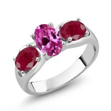 2.10 Ct Oval Pink Created Sapphire Red Ruby 14K White Gold Ring