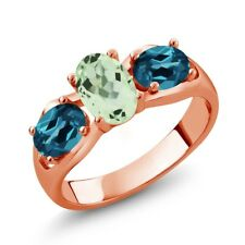 1.75 Ct Oval Green Amethyst London Blue Topaz 14K Rose Gold Ring