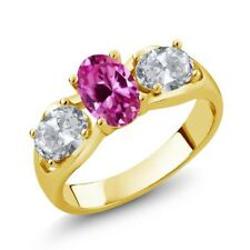 1.90 Ct Pink Created Sapphire White Topaz 18K Yellow Gold Plated Silver Ring