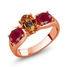 2.00 Ct Oval Ecstasy Mystic Topaz Red Ruby 18K Rose Gold Plated Silver Ring