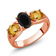 1.60 Ct Oval Black Onyx Yellow Citrine 18K Rose Gold Plated Silver Ring
