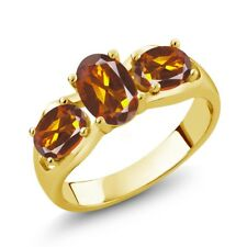 1.50 Ct Oval Orange Red Madeira Citrine 18K Yellow Gold Plated Silver Ring