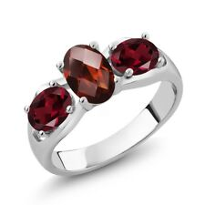 1.80 Ct Oval Checkerboard Red Garnet Red Rhodolite Garnet 14K White Gold Ring
