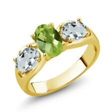 1.71 Ct Oval Checkerboard Green Peridot Sky Blue Aquamarine 18K Yellow Gold Ring