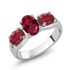 2.20 Ct Oval Red Created Ruby African Red Ruby 14K White Gold Ring