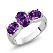 1.45 Ct Oval Purple Amethyst 925 Sterling Silver Ring