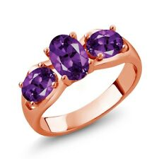 1.45 Ct Oval Purple Amethyst 18K Rose Gold Plated Silver Ring